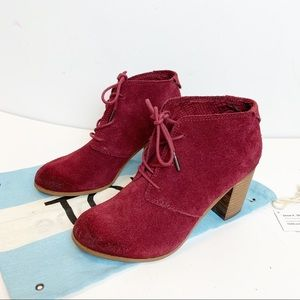 Toms Lunata Oxblood suede leather lace-up booties